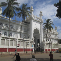 Facade of historic building with palm trees