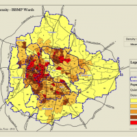 Map of Population density of BBMP wards, Bangalore, India
