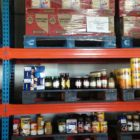 Shelves with dry food at food bank in Cape Town