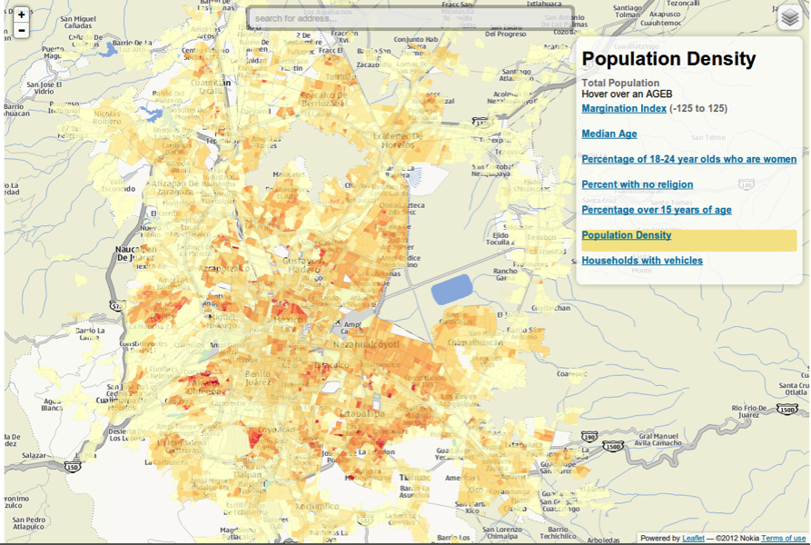 map showing population density in mexico city