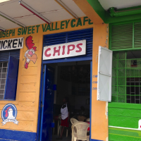 storefront of brightly painted outdoor cafe