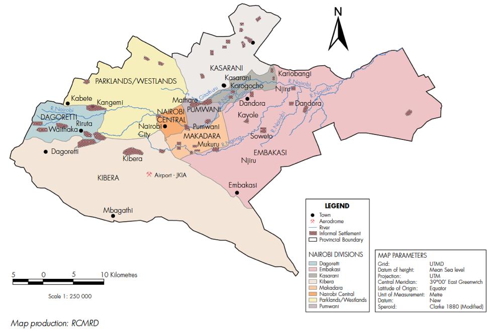 Nairobi kenya hungry cities map of informal settlements in nairobi gumiabroncs Choice Image