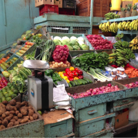 Vegetables and fruit for sale in outdoor market